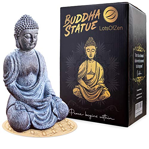 """Buddha Statue Home Decor — Zen Decoration Statues, Outdoor Garden Decoration, Durable Resin 6.7"""" Tall Material with Round Base — Living Room Decorations, Table Shelf Figurines, Altar Meditation Gifts"""