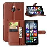 Ycloud Tasche für Nokia Microsoft Lumia 640 XL Dual-SIM Hülle, PU Ledertasche Flip Cover Wallet Hülle Handyhülle mit Stand Function Credit Card Slots Bookstyle Purse Design braun