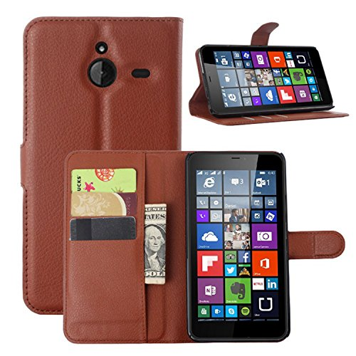 Ycloud Tasche für Nokia Microsoft Lumia 640 XL Dual-SIM Hülle, PU Ledertasche Flip Cover Wallet Case Handyhülle mit Stand Function Credit Card Slots Bookstyle Purse Design braun