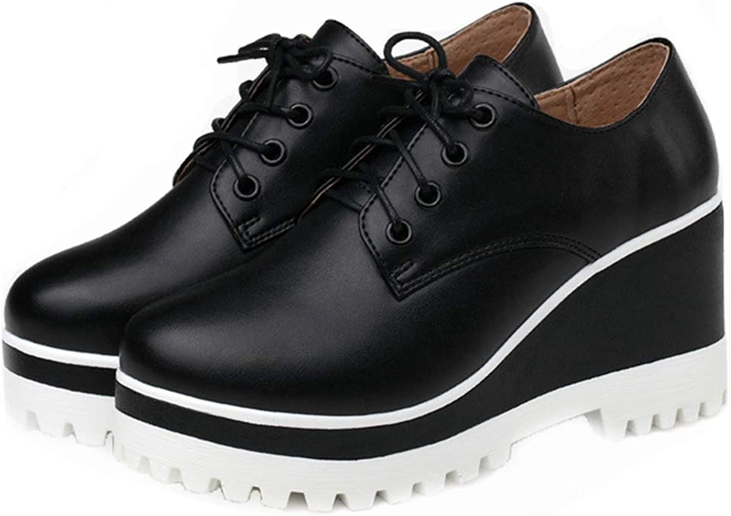 GIY Women's Wedge Platform Oxfords shoes Wingtip Lace Up Chunky High Heels Fashion Dress Oxford Sneakers