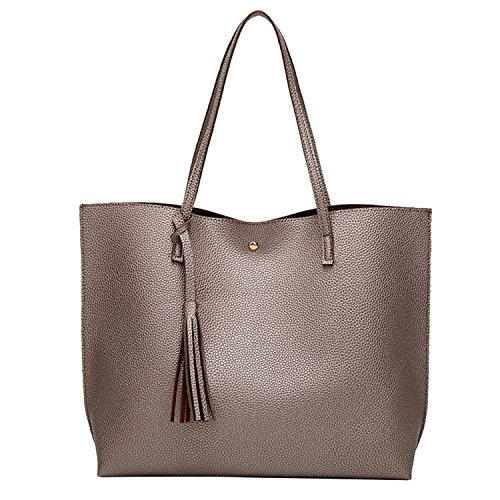 PB-SOAR Damen Mädchen Fashion Shopper Schultertasche Schulterbeutel Henkeltasche Handtasche Einkaufstasche aus Kunstleder 36x30x11cm (B x H x T) (Bronzefarbe)