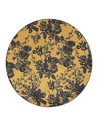 ESSENZA Teppich Vivienne Blumen Polyester Mischung Ocker, rund Ø90 cm