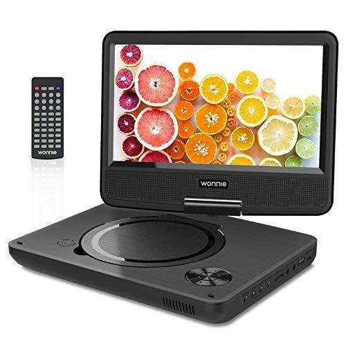 """WONNIE 2021 Upgrade 11.5"""" Lecteur DVD Portable avec écran Rotatif de 9,5"""" à 270°, Inte Carte SD et Prise USB avec 5000mAh Batterie Rechargeable RMVB/AVI / MP3 / JPEG, Parfait pour Enfants (Noir)"""