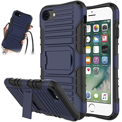 JAMMYLIZARD Cover a Tracolla Compatibile con Apple iPhone 7 e iPhone 8 Custodia Protettiva Rigida Antiurto [Taurus] in Silicone TPU e Polimero, Blu Scuro