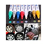 Brussels08, 1 pennarello colorato per pneumatici, universale, impermeabile, per pneumatici, gomma, metallo, vernice permanente, adatto per auto, moto, bici, battistrada bianco