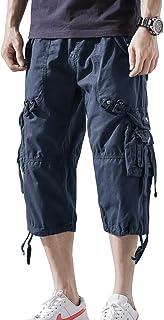 AOYOG Mens Cargo Shorts 3/4 Relaxed Fit Below Knee Capri Cargo Short Cotton