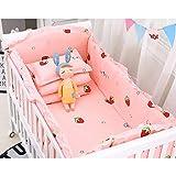 XIAN Juego de cama de algodón para bebé, 5 piezas, funda de almohada lavable