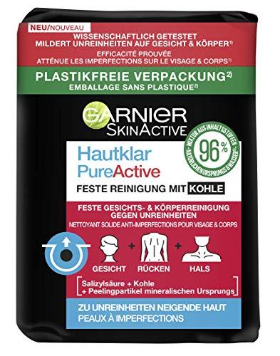Garnier SkinActive Hautklar mit Kohle, Salicylsäure für unreine Haut, feste Reinigung, plastikfrei