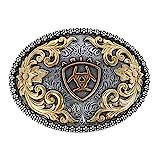 Ariat Oval Filigree Shield Berry Edge Silver Gold Western Belt Buckle