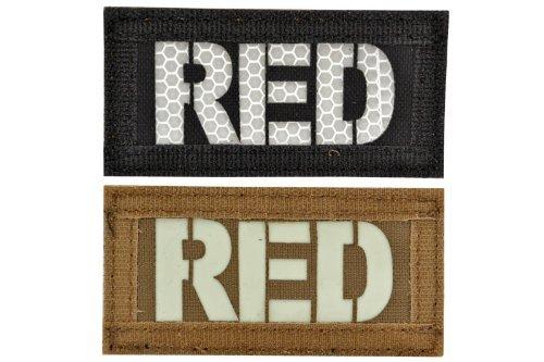 コールサイン ナイロン製 IR 蓄光 RED 2枚セット ベルクロ付 ワッペン 表黒 裏茶 リバーシブル仕様