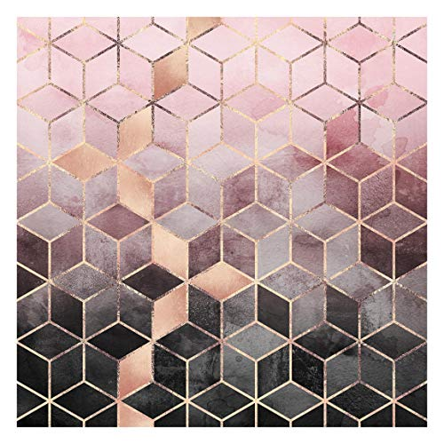 Bilderwelten Tapete selbstklebend - Rosa Grau goldene Geometrie - Vliestapete 192 x 192cm