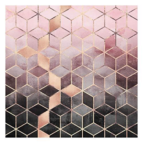 Bilderwelten Fototapete Motiv - Rosa Grau goldene Geometrie - Vliestapete Quadrat 240 x 240cm