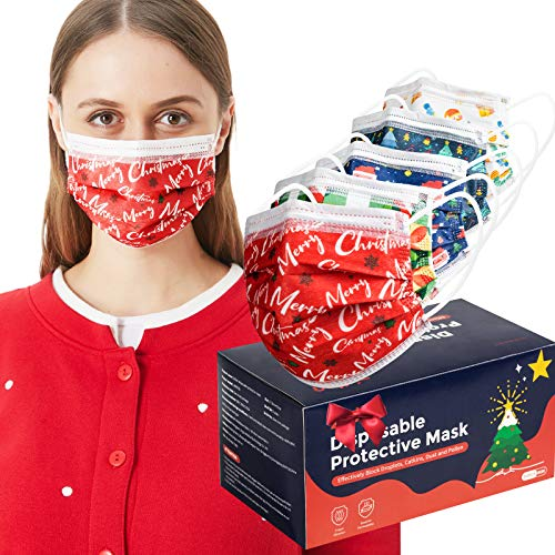 50 Pcs Christmas Adult Face Mask Disposable Face Mask Cute Printed Christmas Dessign Face Masks for Adult Women Men