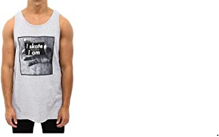 diamond supply co men's tank top i skate therefore i am , heather grey, 2 extra large