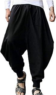 [ワン アンブ] ビッグ シルエット ワイド パンツ 綿麻 カジュアル ダンス お洒落 9分丈 テーパード M ~ XL メンズ