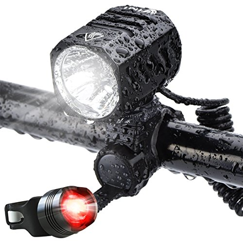 Te-Rich USB Rechargeable Bike Lights, 1200 Lumens Bright LED HeadLights Headlamp Waterproof Cycling Bicycle Lights with FREE Taillight Safety Rearlight (4400mAh Batteries Included)