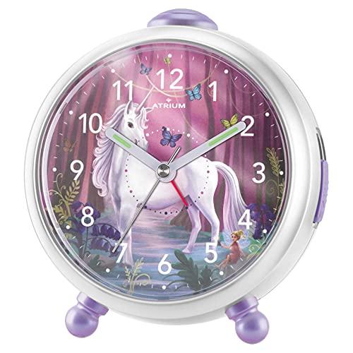Atrium Miraluna A932-0 - Despertador infantil con diseño de unicornio y hada, sin tic tac, con...