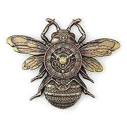 Veronese Design 10 1/4 Steampunk Bee Clock Cold Cast Resin Antique Bronze Finish Wall Sculpture Room Decor
