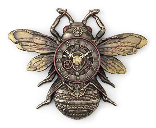 Veronese Design 10 1/4' Steampunk Bee Clock Cold Cast Resin Antique Bronze Finish Wall Sculpture Room Decor