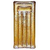 Jet Lag DI9015 Matelas bouée gonflable Doré et transparent à paillettes dorées PVC H22 x 82 x 181 cm