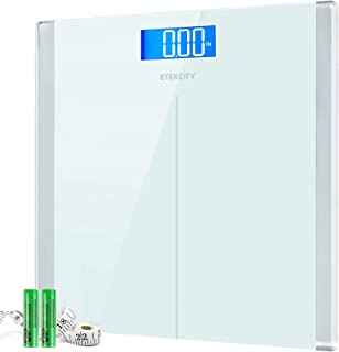 Etekcity Digital Body Weight Bathroom Scale with Step-On Technology, 400 Lb, Body Tape Measure Included, White