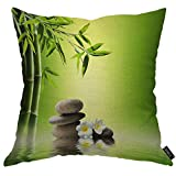 EKOBLA Bamboo and Stones Pillow Case Spa Zen Forest Green Balance Floral Leaves Fresh Garden Durable Pillow Covers for Living Room Sofa Decor Cotton Linen 18x18 Inch