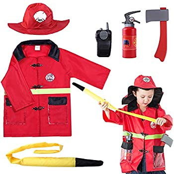 iPlay iLearn Kids Firefighter Costume Toddler Fireman Dress up Fire Pretend Chief Outfit Halloween Role Play Career Suit W/ Walkie Talkie Hose Party Birthday Gift for 3 4 5 6 7 Year Old Boy Girl