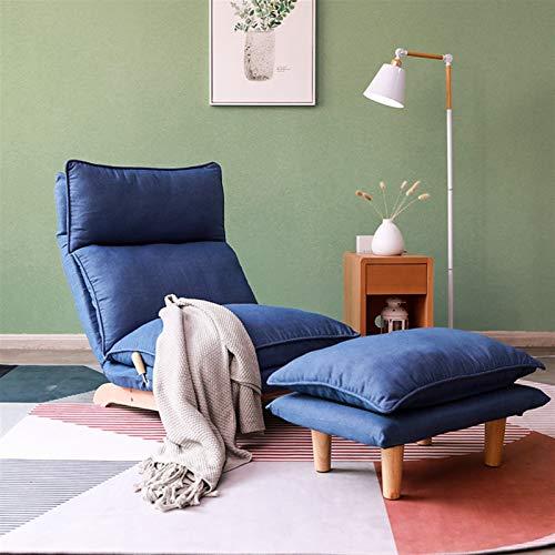 BMNN Lounge Chair Poltrona con - Imbottita - Sedia con Pouf, Poltrona Da Salotto, Soggiorno, Camera Da Letto Sillón Otomana (Color : Denim Blue+Footstool)