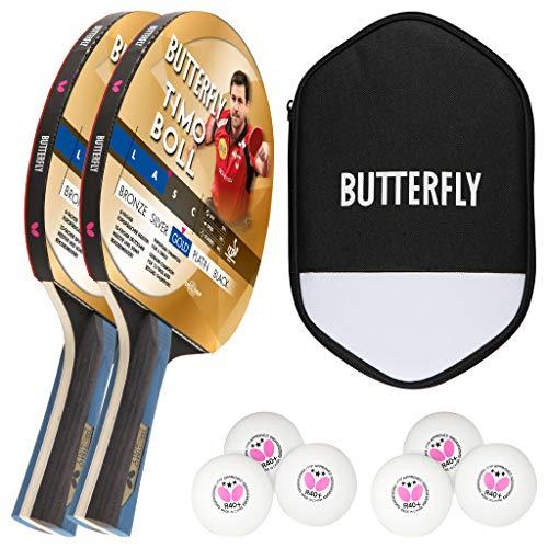 Butterfly Timo Boll 2 x Gold Tischtennisschläger + Tischtennishülle + 2 x 3*** ITTF G40+ Tischtennisbälle | Tischtennis Wettkampfschläger Set Tischtennisschlägerset
