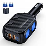 SUPERONE 180W Cigarette Lighter Splitter with 20W PD, 2-Socket Cigarette Lighter Adapter, Fast USB C Car Charger with Type-C 20W PD & QC 3.0 for Dash Cam, GPS, Laptop/iPad/iPhone 13/12/11/X/8/Samsung