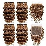 Fashion Line Brazilian Virgin Deep Wave Human Hair 4 Bundles With Lace Closure 50G/Pcs Curly Human Hair Weft Short Bob Style (Color 30)