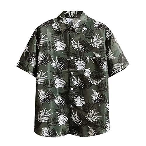Yowablo Chemise à la Mode hawaïenne à Manches Courtes pour Hommes (XXL,9Noir)