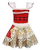 AmzBarley Mädchen Kleid Moana Kostüm Kinder Abenteuer Outfit Cosplay Kleidung Halloween Karneval Party Rock