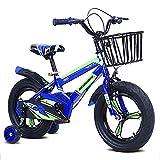 FHKBK Bicicletas para niños para niñas y niños a Partir de 3 años 12 14 16 Pulgadas Bicicleta para Bicicletas de Equilibrio para niños con Canasta, Freno de Mano y Ruedas de entrenamient