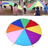 キッズパラシュートパラシュートマルチカラーおもちゃパラシュートおもちゃ、パラシュートを再生、パラシュートを再生、子供のための屋外ゲームおもちゃパラシュート小さな子供のために遊ぶ6〜8人の子供調和のとれたチームワークを開発する