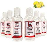 RMOVE 6 flaconi da 80ml gel igienizzante mani 70% ALCOL Gel mani profumato al limone arricchito con olii essenziali di Aloe e Timo, Gel tascabile da viaggio