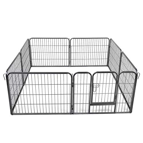COZIWOW 8 Panels Heavy Duty Foldable Dog Playpen for Small Medium Large Dogs, Puppy Play Exercise Pen, Indoor Outdoor Pet Fence Run