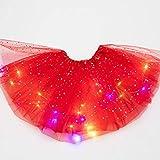 Faldas de tutú para niñas, falda de tutú con luz LED, falda luminosa de tul, falda de baile de princesa LED, disfraz de ballet para fiesta de Navidad (rojo)