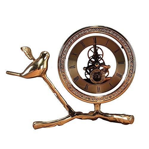 QMZZN Estatua Decoración De La Estatua Escultura del Hogar Reloj De Mesa De Cobre Puro Reloj De Mesa De Sala De Estar Reloj De Cobre Birdie Decoración del Hogar Decoración