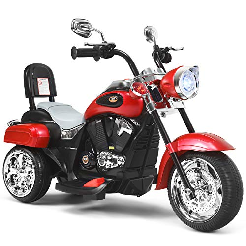 COSTWAY Kids Electric Motorcycle, 6V Battery Powered Motorbike with Horn,...