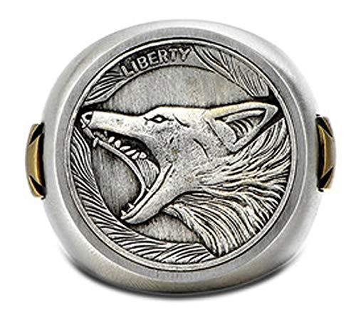 RXSHOUSH Anillo de plata S925 para hombre, anillo de moneda callejera, regalo de la suerte para hijo novio, tamaño 19-21, 21#