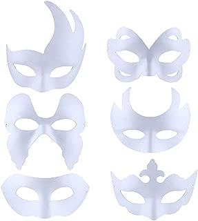 Outgeek DIY White Mask, 6 Pcs Paintable Paper Mask Plain White Mask for Adult Kids Mardi Gras Halloween Party Costume Women