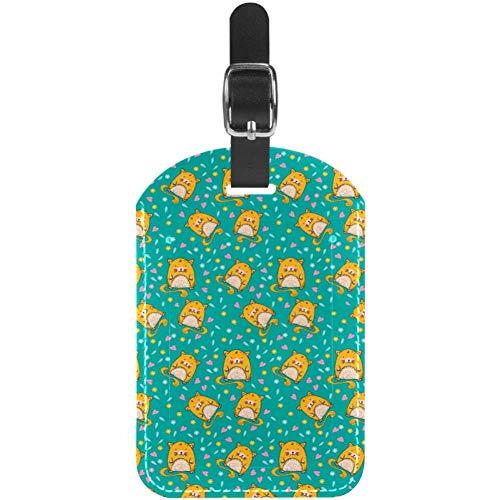 Etiquetas de Equipaje Cute Hamster Floral PNG Leather Travel Suitcase Labels 1 Packs