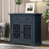 Retro Storage Cabinet, Wood Accent Cabinet with Doors and Drawers for Living Room Bedroom Entryway Bar Storage Table Home Office Furniture Storage Chest (Antique Navy)