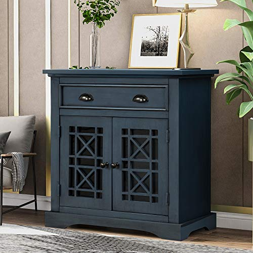 Knocbel Accent Storage Cabinet with 2 Glass Doors, Drawer and Aluminum Alloy Handles, Decorative Console Table Buffet Sideboard for Entryway Hallway Dining Room Living Room (Antique Navy)