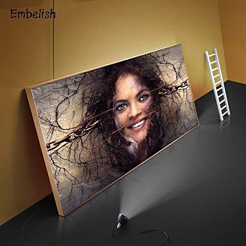 PLjVU Cara de Mujer Abstracta impresión HD en Lienzo Pintura al óleo Sala de Estar decoración del hogar Imagen de Pared Obra de Arte-Sin marco40X60cm