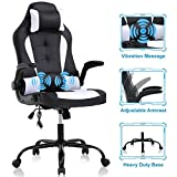 Gaming Chair Office Chair Desk Chair Massage Ergonomic High Back Computer Chair with Lumbar Support Flip-up Arms Headrest PU Leather Height Adjustable Swivel Executive Chair for Women Men Adult