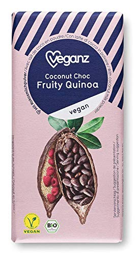 Veganz BIO Coconut Choc Fruity Quinoa - Vegane Schokolade mit Kokosblütenzucker Quinoa und Bio Himbeeren Lecker Vegan - 3 x 80g