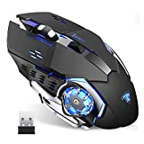 TENMOS T85 Raton Inalambrico Gaming, 2.4G USB LED Recargable Ratón Inalámbrico...