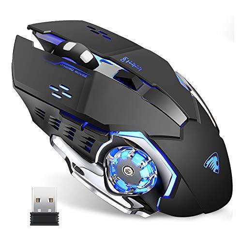 TENMOS T85 Wiederaufladbare Wireless Gaming Maus, 2.4G USB LED Kabellose Optische Silent Maus,Automatischer Schlaf,Ergonomischer Griff,3 DPI Einstellbar für MAC/PC/Notebook/Computer(Schwarz)